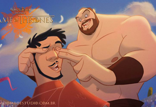 The Mountain with his fingers over Oberyn Martell's eyes.