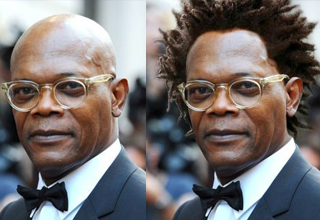 Sam Jackson with and without h