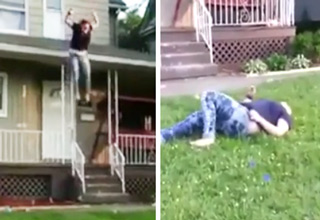girl jumps off roof and rolls around in pain
