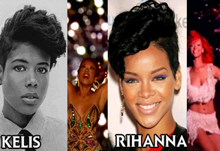 kelis and rihanna in front of fireworks with the same haircut