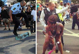 cop skateboarding and one cop dancing with woman