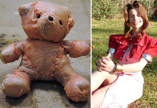 teddy bear wrapped in chicken skin. Creepy girl in orange orchard.