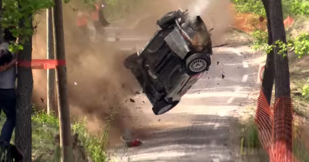Lucky Driver Walks Away From Gnarly Rally Car Crash