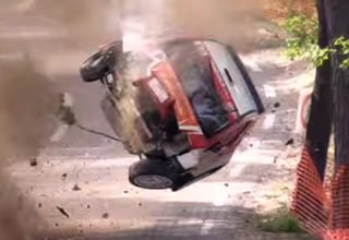 rally car has violent crash duri