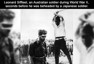 leonard siffleet, seconds before being beheaded by japanese soldier