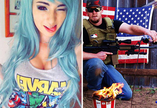 girl with blue hair and a marvel t shirt guy with gun flaming kfc bucket and american fla
