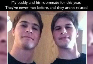 guy and his roommate look exactly alike