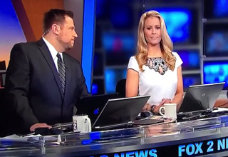 news anchors on set after blonde woman say she wants a dry hump day