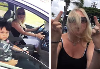 woman driving with her son in the car goes nuts and road rages