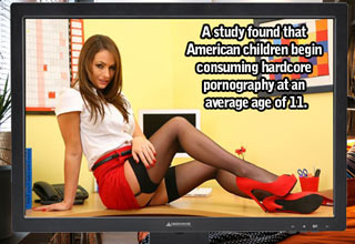 adult actress sitting on a desk text reads a study found american children begin looking at porn at the age o