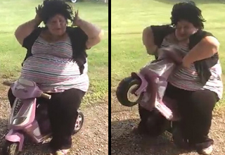 Chubby Diva Falls Off Kid's Bike