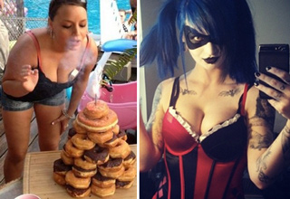 girl with cake made of donuts, hot girl with facepaint