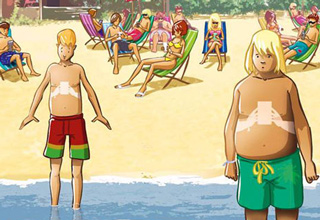 cartoon with kids with smartphone tan lines