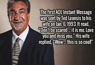 the first aol message was sent by led leonsis to his wife in 1993.