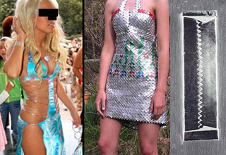 dress made out of gum wrapper