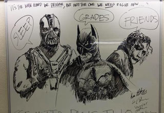bane batman and joker on whiteboard drawing