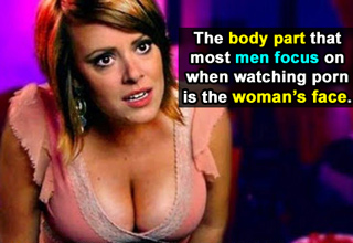 girl with lots of cleavage. the body part that most men focus on when watching porn is the womans face