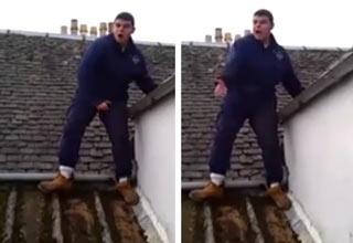 scottish roofer walking on roof yelling