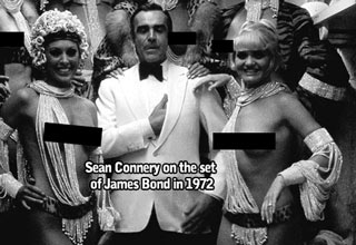 sean connery on the set of 007 in 1972