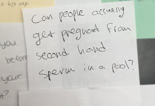 9th grader asks if you can get pregnant from second hand sperm in a pool
