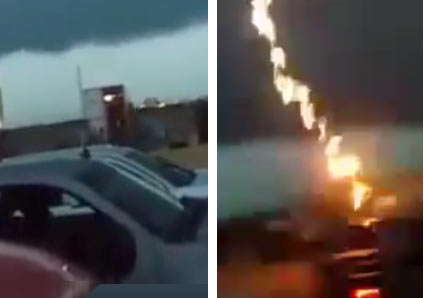 camera captures lightning strike
