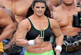 female body builder leading a race