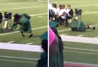 girl falls wearing high heeled shoes to graduation
