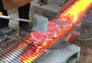 Grilling Steaks With Lava
