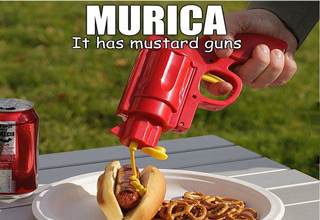 murica it has mustard guns putting mustard on hot dog