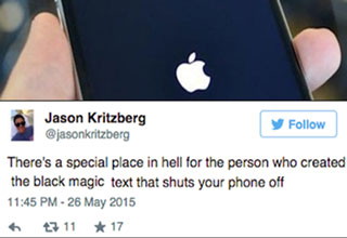 man holding an iphone that is restarting and a tweet from jason kritzberg about a text message that crashes your iphone