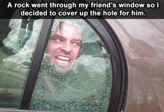 jack nickolson in a smashed car window