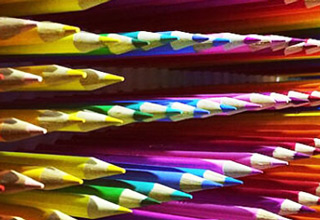 color pencils arranged into art