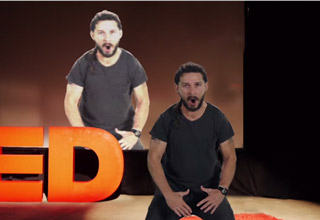 shia labeouf flexing and screaming during TED talk