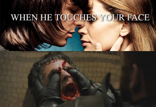 justgirlythings when he touches your face poster and game of thrones red viper being killed image