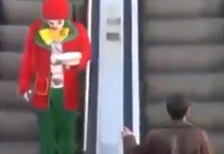 Clown Goes Gangsta on Unsuspecting Man