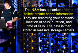 google storage center. nsa blanket order to collect private phone information