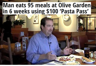 man eats 95 meals at olive garden in 6 weeks using 100 pasta p