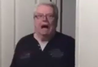 old man screaming because hes scared
