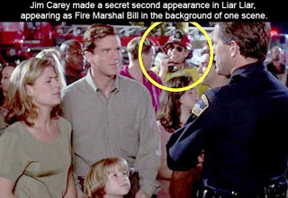 jim carey made a secret second appearance in Liar Liar, appearing as Fire Marshal Bill in the background of one scene