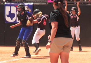 High School Softball Catcher Plays With Her Elbows