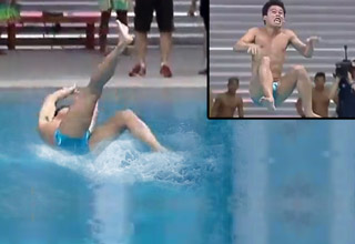 filipino diving team doing backflops and bad dives