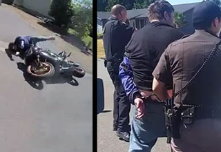 motorcycle thief crashed and getting arrested