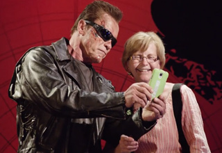the terminator taking a selfie with an old woman