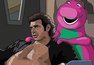 barney massaging jeff goldblum