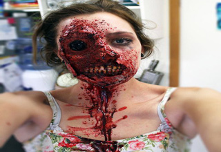 girl with zombie makeup