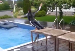kid jumping off diving board and it breaks