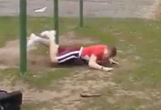 gymnast flips hits head and faceplants onto the ground