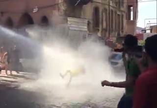 Protester Gets DESTROYED By Water Cannon