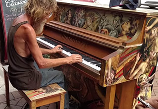 Homeless Man Plays The Piano Beau