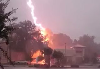 Intenste Lightning Strike Across The Stre